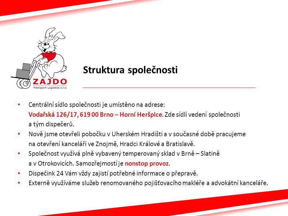 Struktura společnosti Centrální sídlo společnosti je umístěno na adrese: Vodařská 126/17, 619 00 Brno – Horní Heršpice. Zde sídlí vedení společnosti a