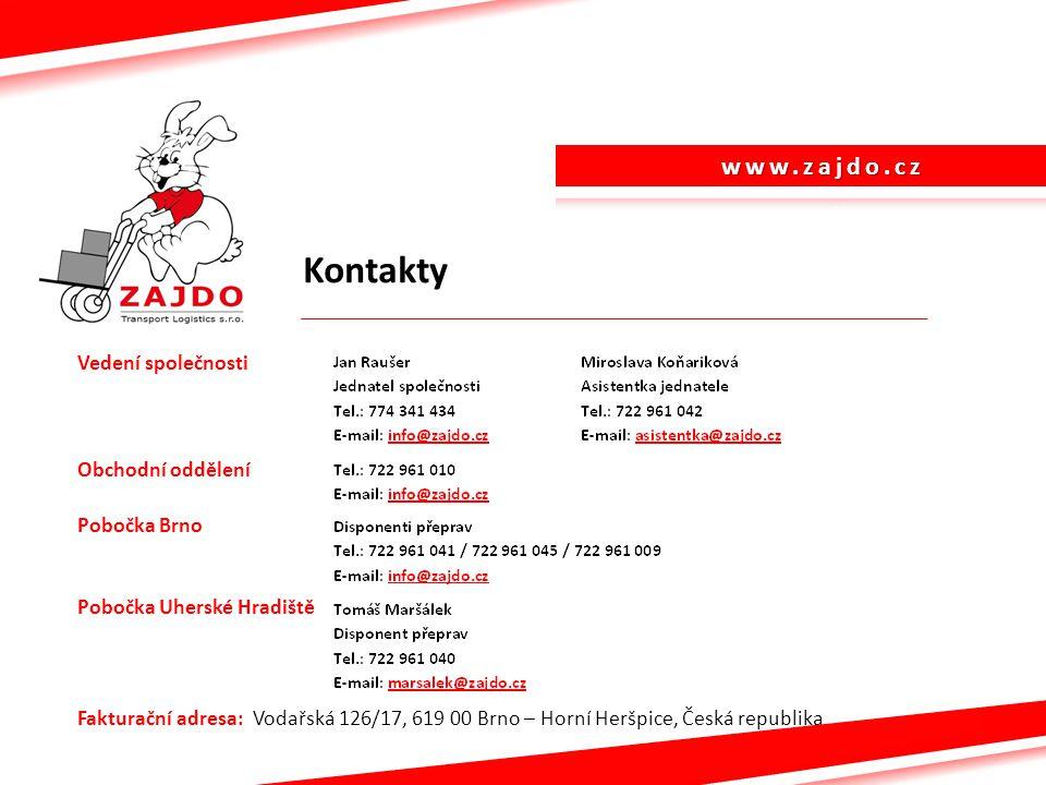 Kontakty Vedení společnosti Obchodní oddělení Pobočka Brno Pobočka Uherské Hradiště Fakturační adresa: Vodařská 126/17, 619 00 Brno – Horní Heršpice,