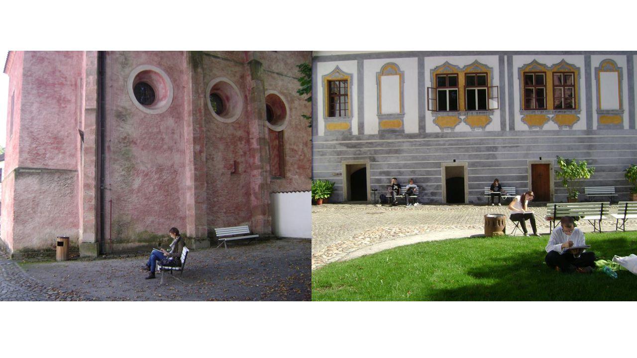Druhý den zájezdu Druhý den jsme absolvovali prohlídku interiéru zámku se slavným maškarním sálem s iluzivní malbou; viděli jsme i renesanční a rokokové sály Po jídle jsme malovali v zámecké zahradě.