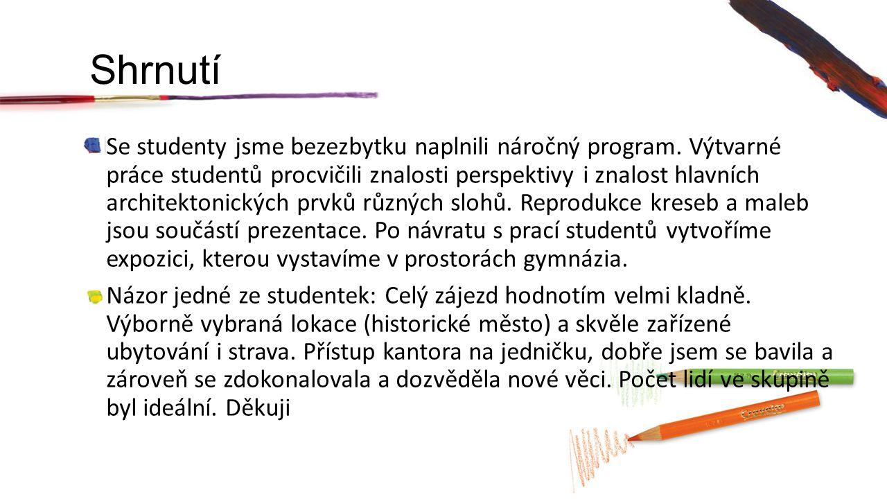 Shrnutí Se studenty jsme bezezbytku naplnili náročný program.