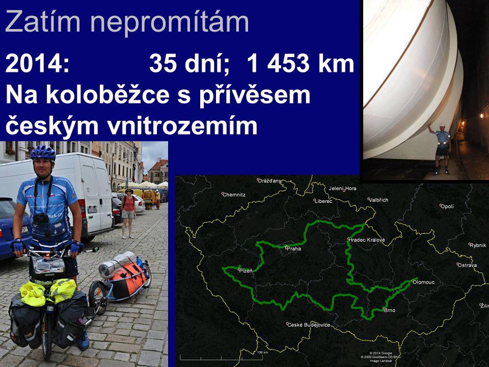 2014:35 dní; 1 453 km Na koloběžce s přívěsem českým vnitrozemím Zatím nepromítám