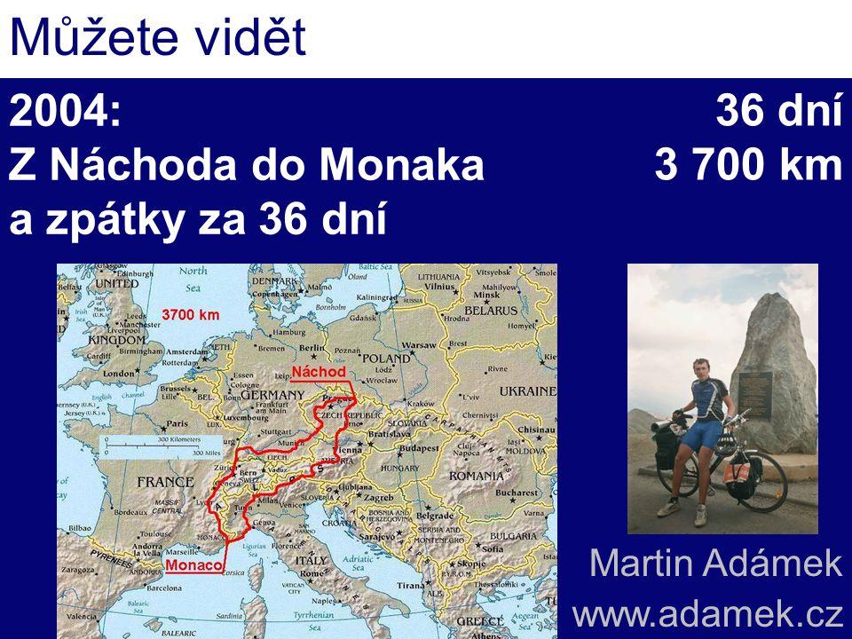 2004: Z Náchoda do Monaka a zpátky za 36 dní Můžete vidět 36 dní 3 700 km Martin Adámek www.adamek.cz