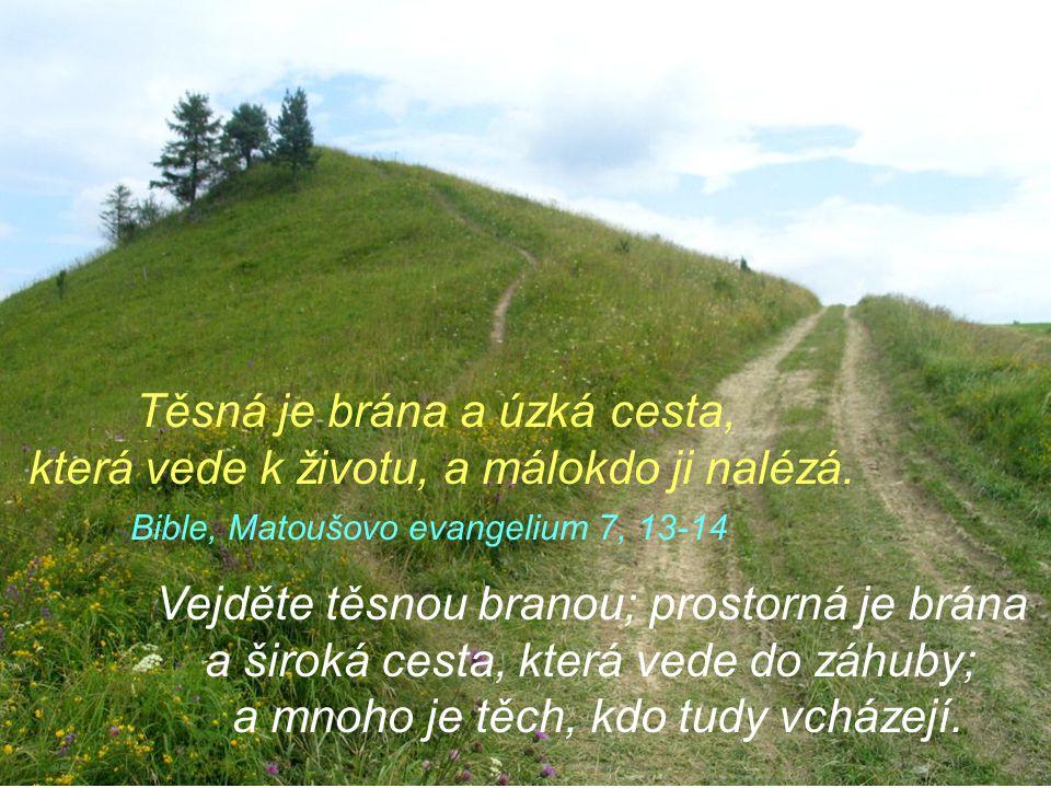 Vejděte těsnou branou; prostorná je brána a široká cesta, která vede do záhuby; a mnoho je těch, kdo tudy vcházejí.