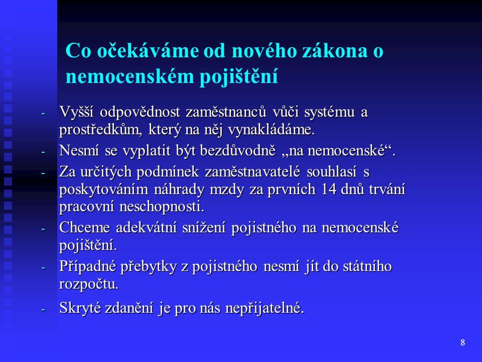 8 Co očekáváme od nového zákona o nemocenském pojištění - Vyšší odpovědnost zaměstnanců vůči systému a prostředkům, který na něj vynakládáme. - Nesmí
