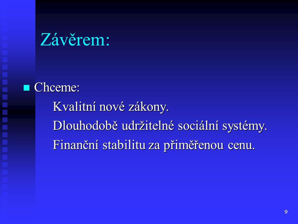 9 Závěrem: Chceme: Chceme: Kvalitní nové zákony. Dlouhodobě udržitelné sociální systémy. Finanční stabilitu za přiměřenou cenu.