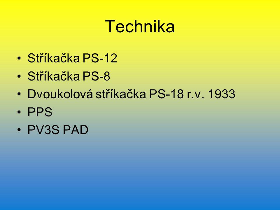 Technika Stříkačka PS-12 Stříkačka PS-8 Dvoukolová stříkačka PS-18 r.v. 1933 PPS PV3S PAD