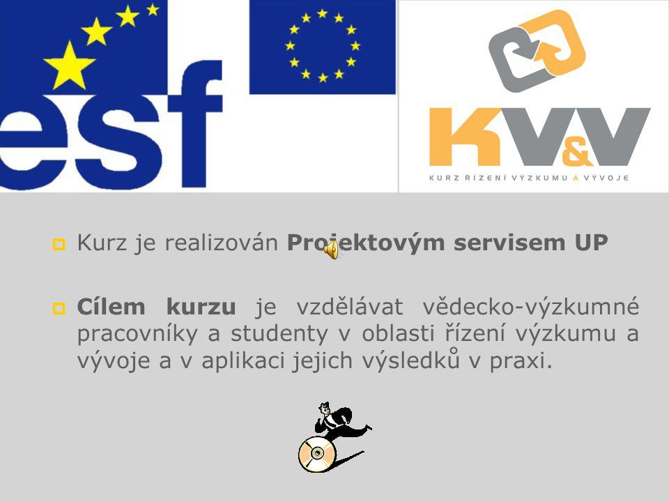 1 KURZ ŘÍZENÍ VÝZKUMU A VÝVOJE A VYUŽITÍ JEJICH VÝSLEDKŮ V PRAXI Tento projekt je spolufinancován Evropským sociálním fondem a státním rozpočtem České republiky.