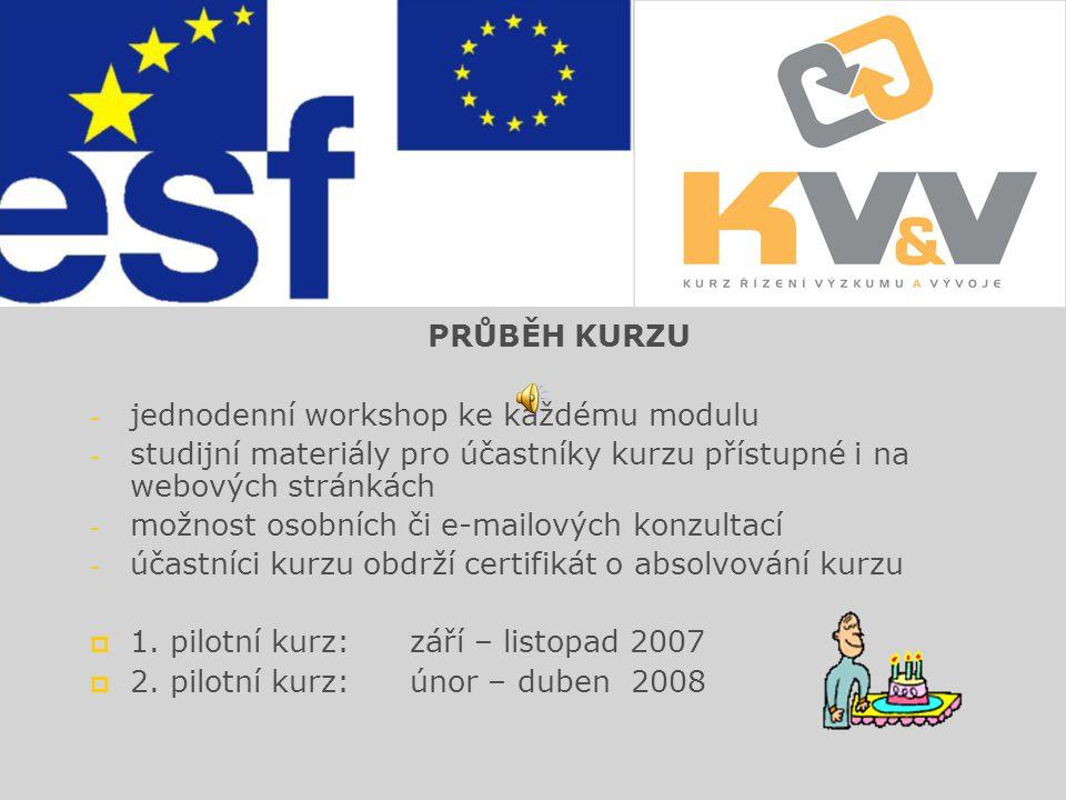 STRUKTURA KURZU  Modul A: Financování výzkumu a vývoje  Modul B: Projektový management zaměřený na výzkum a vývoj  Modul C: Právní ochrana výsledků výzkumu a vývoje  Modul D: Podnikání ve výzkumu a vývoji  Modul E: Spin-off firma