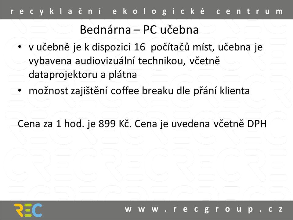 Bednárna – PC učebna v učebně je k dispozici 16 počítačů míst, učebna je vybavena audiovizuální technikou, včetně dataprojektoru a plátna možnost zajištění coffee breaku dle přání klienta Cena za 1 hod.