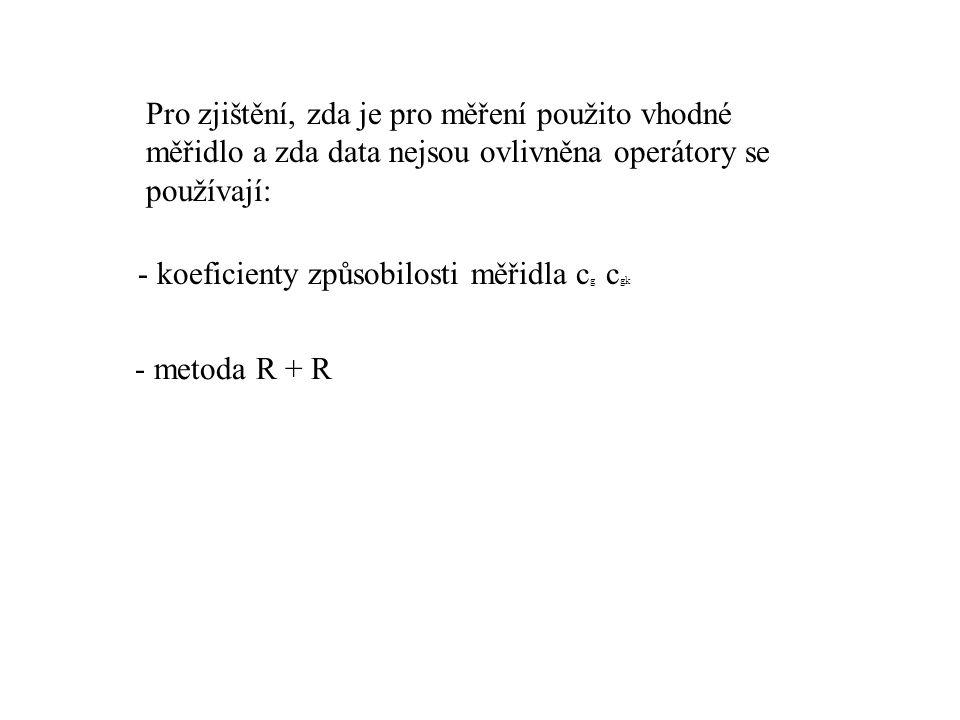 Pro zjištění, zda je pro měření použito vhodné měřidlo a zda data nejsou ovlivněna operátory se používají: - koeficienty způsobilosti měřidla c g c gk - metoda R + R