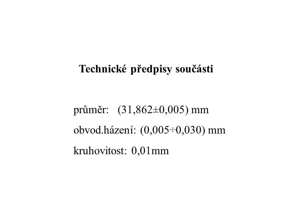 Technické předpisy součásti průměr: (31,862±0,005) mm obvod.házení: (0,005÷0,030) mm kruhovitost: 0,01mm