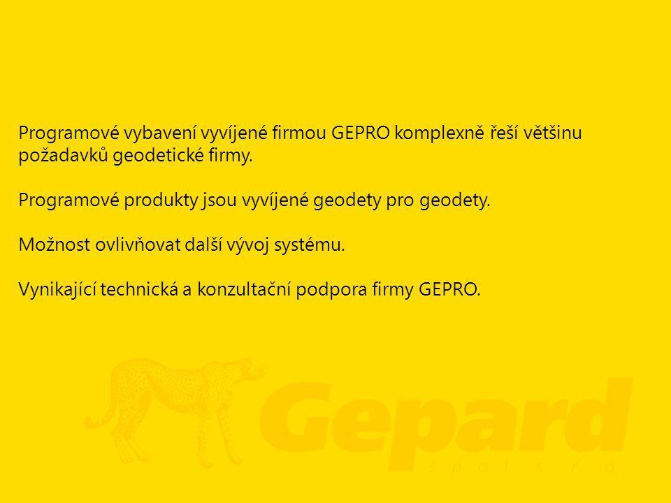 Programové vybavení vyvíjené firmou GEPRO komplexně řeší většinu požadavků geodetické firmy. Programové produkty jsou vyvíjené geodety pro geodety. Mo