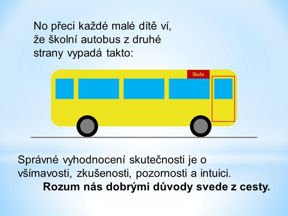 No přeci každé malé dítě ví, že školní autobus z druhé strany vypadá takto: škola Správné vyhodnocení skutečnosti je o všímavosti, zkušenosti, pozornosti a intuici.