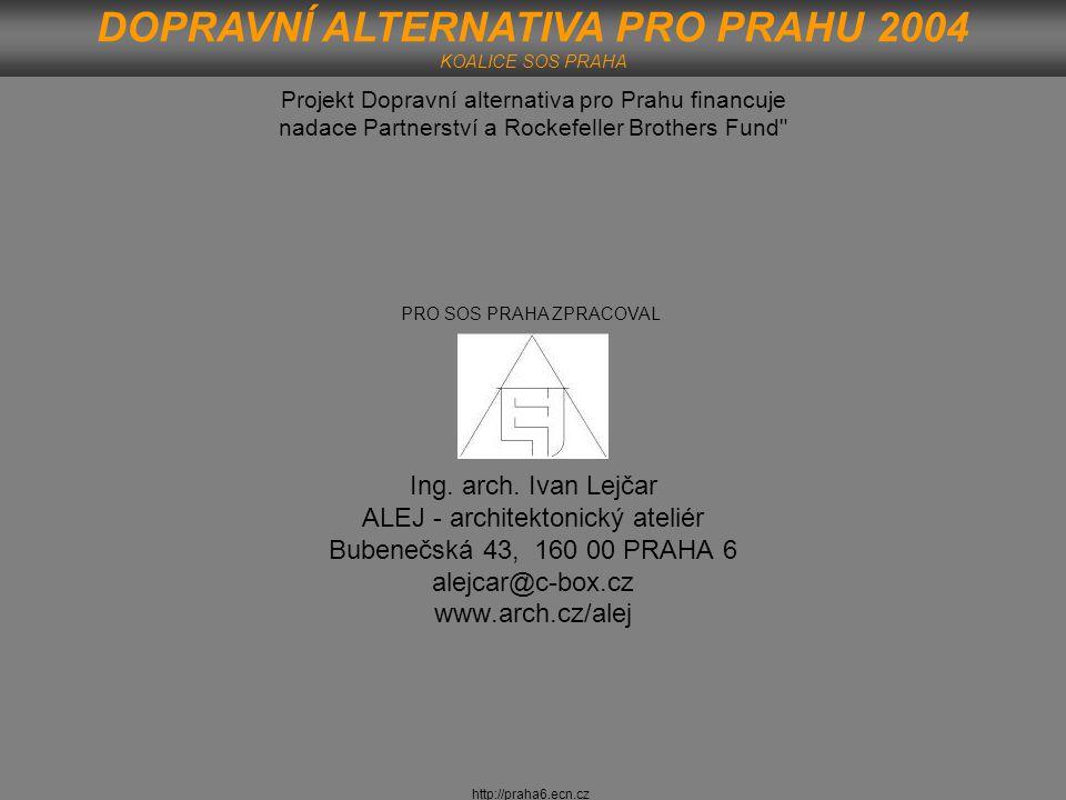 http://praha6.ecn.cz DOPRAVNÍ ALTERNATIVA PRO PRAHU 2004 KOALICE SOS PRAHA Projekt Dopravní alternativa pro Prahu financuje nadace Partnerství a Rocke