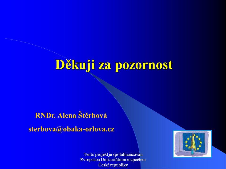 Tento projekt je spolufinancován Evropskou Unií a státním rozpočtem České republiky Děkuji za pozornost RNDr. Alena Štěrbová sterbova@obaka-orlova.cz