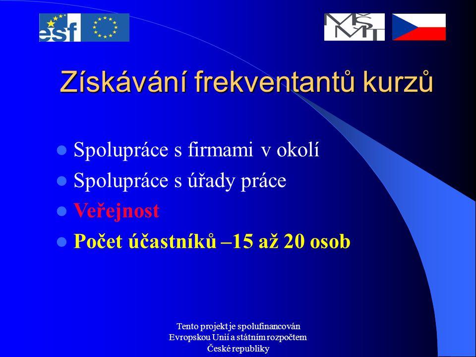 Tento projekt je spolufinancován Evropskou Unií a státním rozpočtem České republiky Získávání frekventantů kurzů Spolupráce s firmami v okolí Spolupráce s úřady práce Veřejnost Počet účastníků –15 až 20 osob