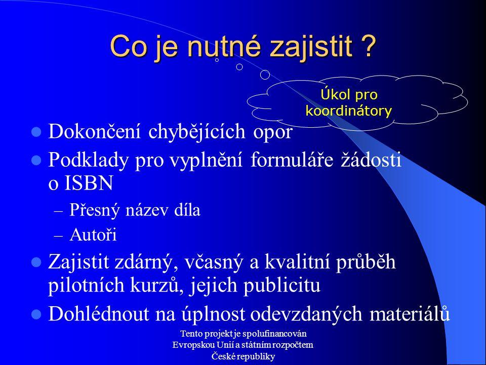 Tento projekt je spolufinancován Evropskou Unií a státním rozpočtem České republiky Co je nutné zajistit ? Dokončení chybějících opor Podklady pro vyp