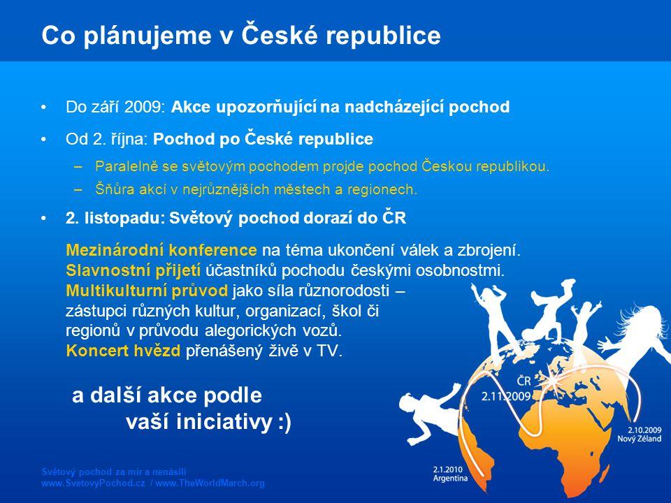 Světový pochod za mír a nenásilí www.SvetovyPochod.cz / www.TheWorldMarch.org Co plánujeme v České republice Do září 2009: Akce upozorňující na nadchá