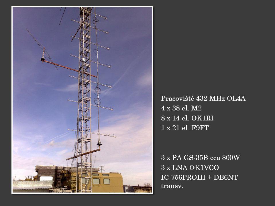 Pracoviště 432 MHz OL4A 4 x 38 el.M2 8 x 14 el. OK1RI 1 x 21 el.