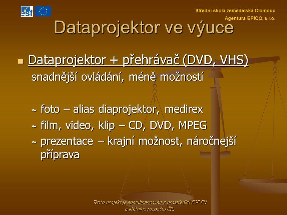 Dataprojektor ve výuce Dataprojektor + přehrávač (DVD, VHS) Dataprojektor + přehrávač (DVD, VHS) snadnější ovládání, méně možností ~ foto – alias diap