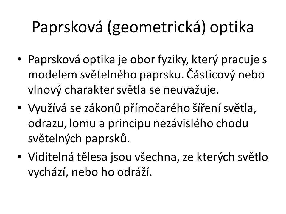 Paprsková (geometrická) optika Paprsková optika je obor fyziky, který pracuje s modelem světelného paprsku. Částicový nebo vlnový charakter světla se