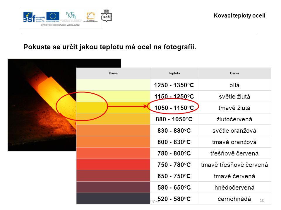 www.zlinskedumy.cz10 Pokuste se určit jakou teplotu má ocel na fotografii. Kovací teploty oceli BarvaTeplotaBarva 1250 - 1350°Cbílá 1150 - 1250°Csvětl