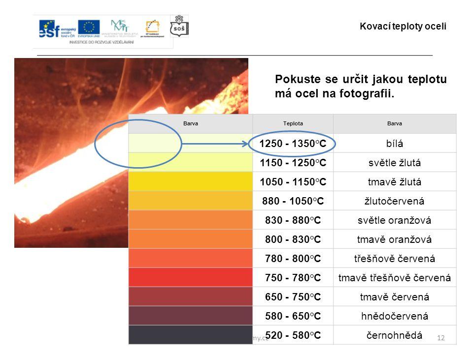 www.zlinskedumy.cz12 Pokuste se určit jakou teplotu má ocel na fotografii. Kovací teploty oceli BarvaTeplotaBarva 1250 - 1350°Cbílá 1150 - 1250°Csvětl