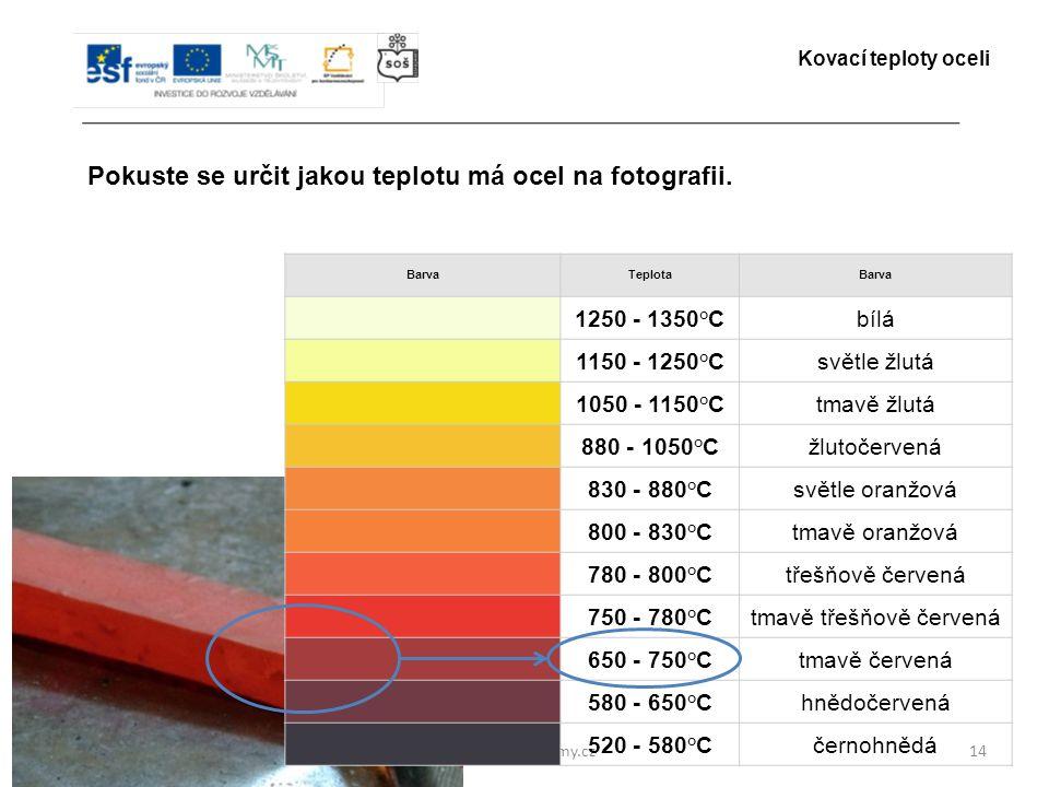 www.zlinskedumy.cz14 Pokuste se určit jakou teplotu má ocel na fotografii. Kovací teploty oceli BarvaTeplotaBarva 1250 - 1350°Cbílá 1150 - 1250°Csvětl