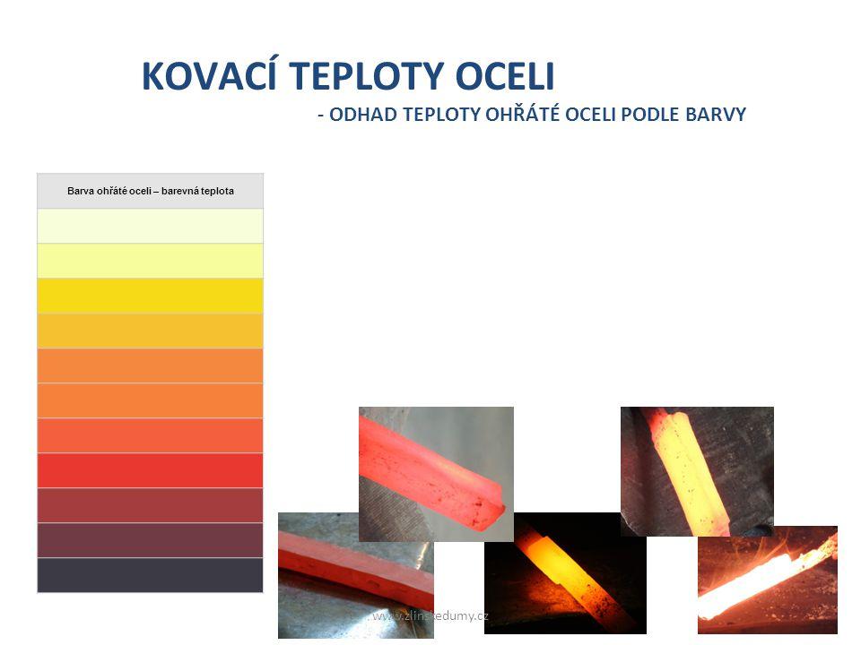 o Kovář při ohřevu odhaduje teplotu oceli podle barvy, kterou září. o Ocel zahřátá na různé teploty svítí různými barvami. o Každé barvě odpovídá urči
