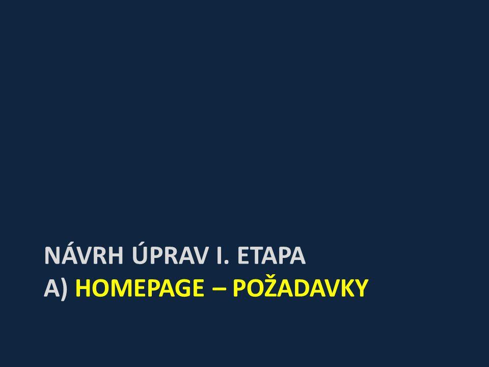NÁVRH ÚPRAV I. ETAPA A) HOMEPAGE – POŽADAVKY