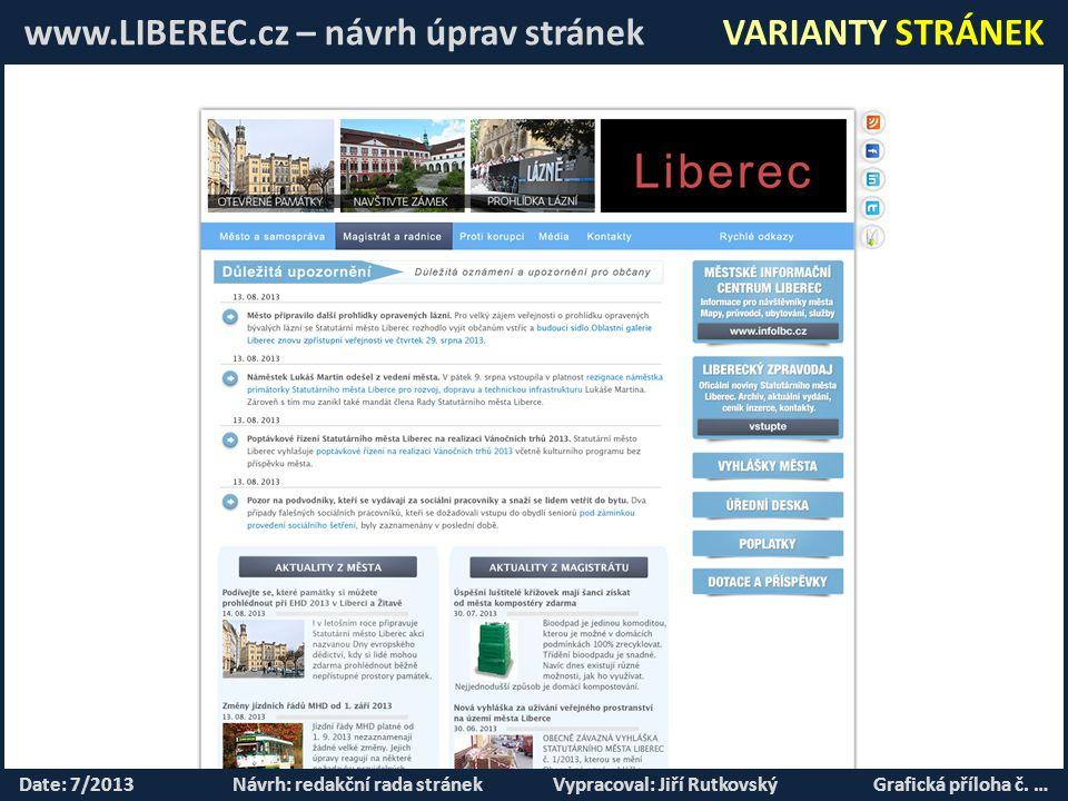 www.LIBEREC.cz – návrh úprav stránek VARIANTY STRÁNEK Date: 7/2013Návrh: redakční rada stránekVypracoval: Jiří RutkovskýGrafická příloha č.