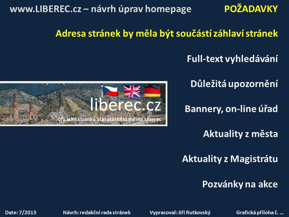 NÁVRH ÚPRAV I. ETAPA C) HOMEPAGE – UKÁZKA NA INTERNETU