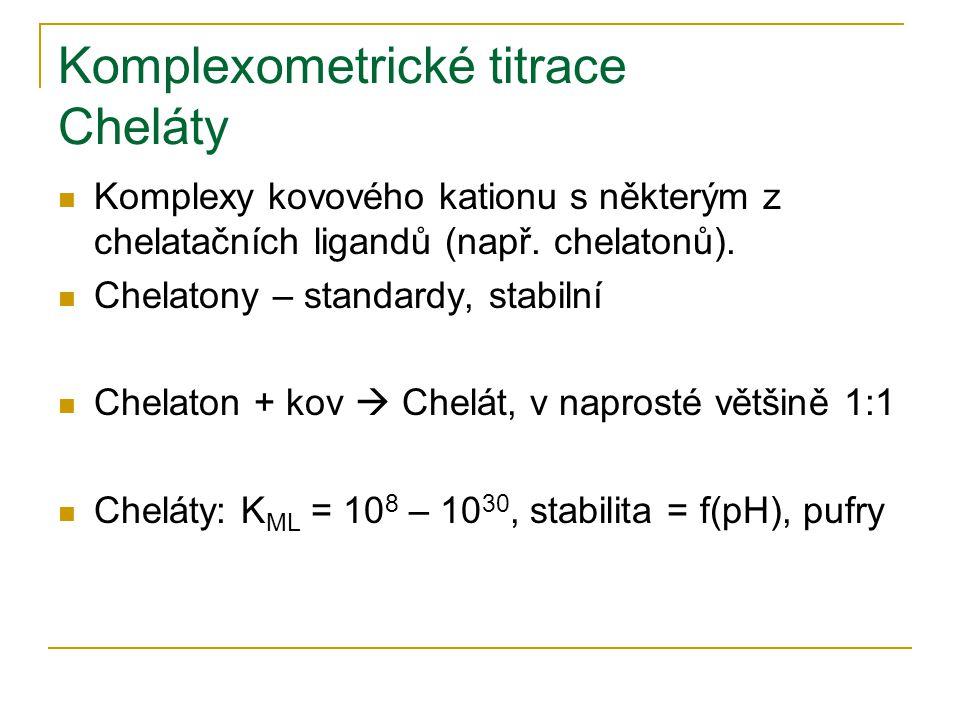 Komplexometrické titrace Cheláty Komplexy kovového kationu s některým z chelatačních ligandů (např. chelatonů). Chelatony – standardy, stabilní Chelat