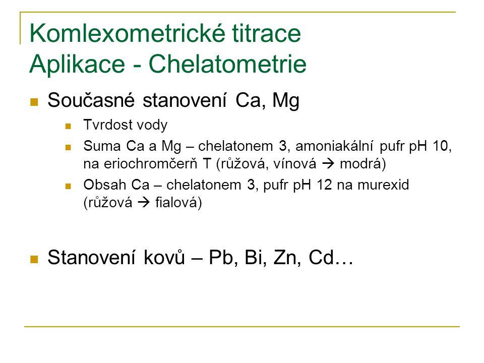 Komlexometrické titrace Aplikace - Chelatometrie Současné stanovení Ca, Mg Tvrdost vody Suma Ca a Mg – chelatonem 3, amoniakální pufr pH 10, na eriochromčerň T (růžová, vínová  modrá) Obsah Ca – chelatonem 3, pufr pH 12 na murexid (růžová  fialová) Stanovení kovů – Pb, Bi, Zn, Cd…