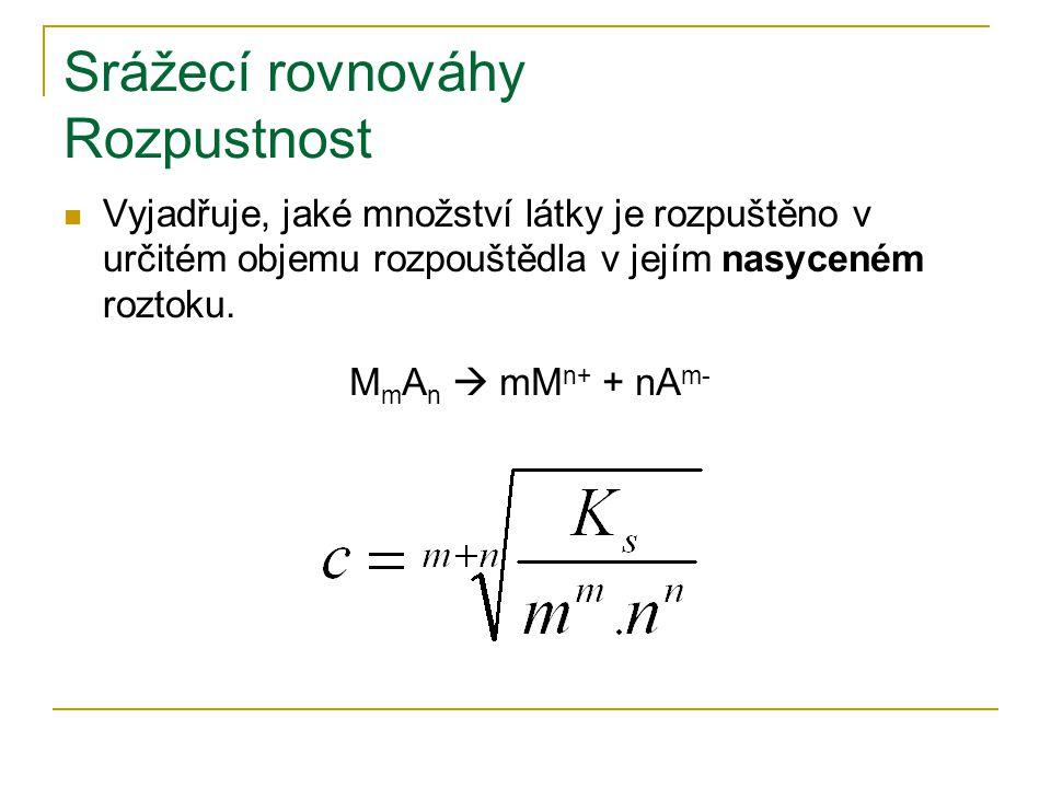 Srážecí rovnováhy Rozpustnost Vyjadřuje, jaké množství látky je rozpuštěno v určitém objemu rozpouštědla v jejím nasyceném roztoku. M m A n  mM n+ +