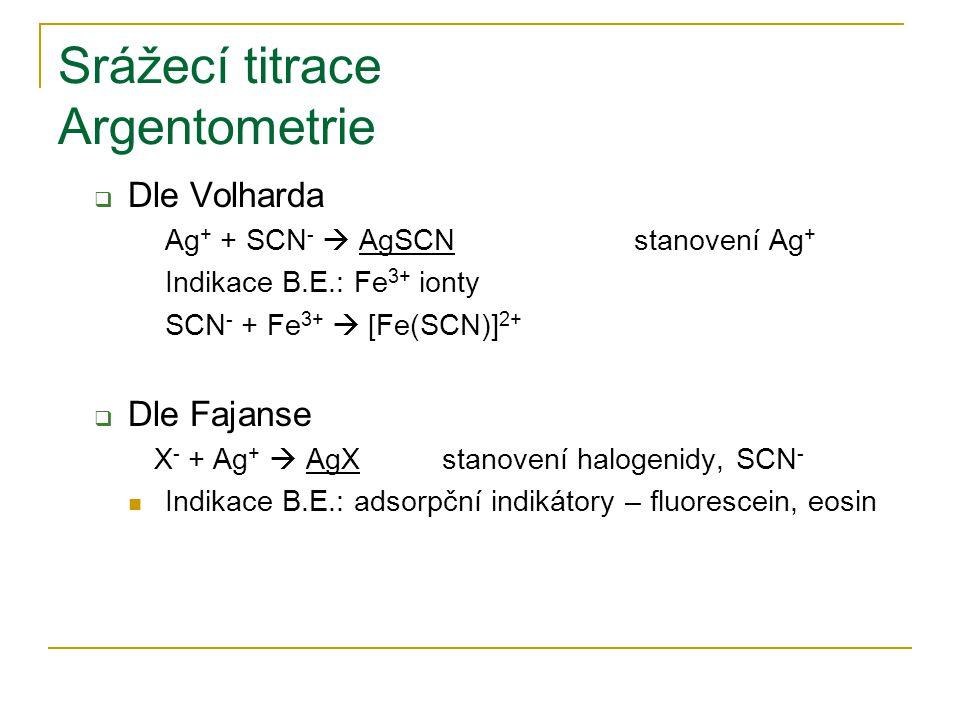 Srážecí titrace Argentometrie  Dle Volharda Ag + + SCN -  AgSCNstanovení Ag + Indikace B.E.: Fe 3+ ionty SCN - + Fe 3+  [Fe(SCN)] 2+  Dle Fajanse X - + Ag +  AgXstanovení halogenidy, SCN - Indikace B.E.: adsorpční indikátory – fluorescein, eosin