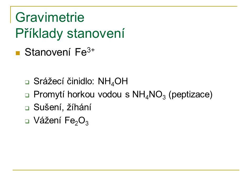 Gravimetrie Příklady stanovení Stanovení Fe 3+  Srážecí činidlo: NH 4 OH  Promytí horkou vodou s NH 4 NO 3 (peptizace)  Sušení, žíhání  Vážení Fe