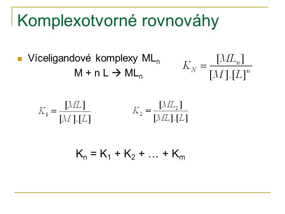 Komplexotvorné rovnováhy Víceligandové komplexy ML n M + n L  ML n K n = K 1 + K 2 + … + K m