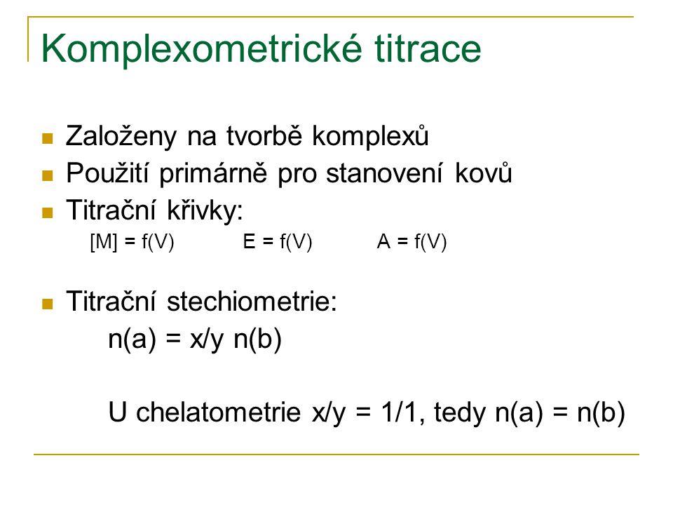 Komplexometrické titrace Založeny na tvorbě komplexů Použití primárně pro stanovení kovů Titrační křivky: [M] = f(V)E = f(V)A = f(V) Titrační stechiom