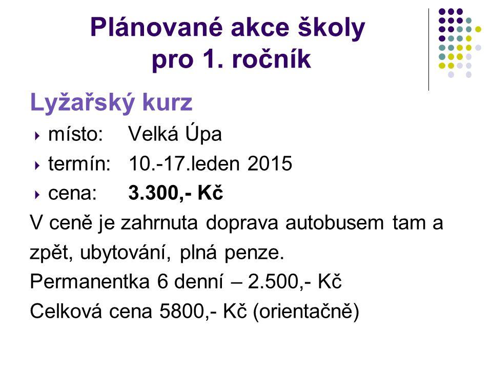 Plánované akce školy pro 1. ročník Lyžařský kurz  místo: Velká Úpa  termín: 10.-17.leden 2015  cena:3.300,- Kč V ceně je zahrnuta doprava autobusem