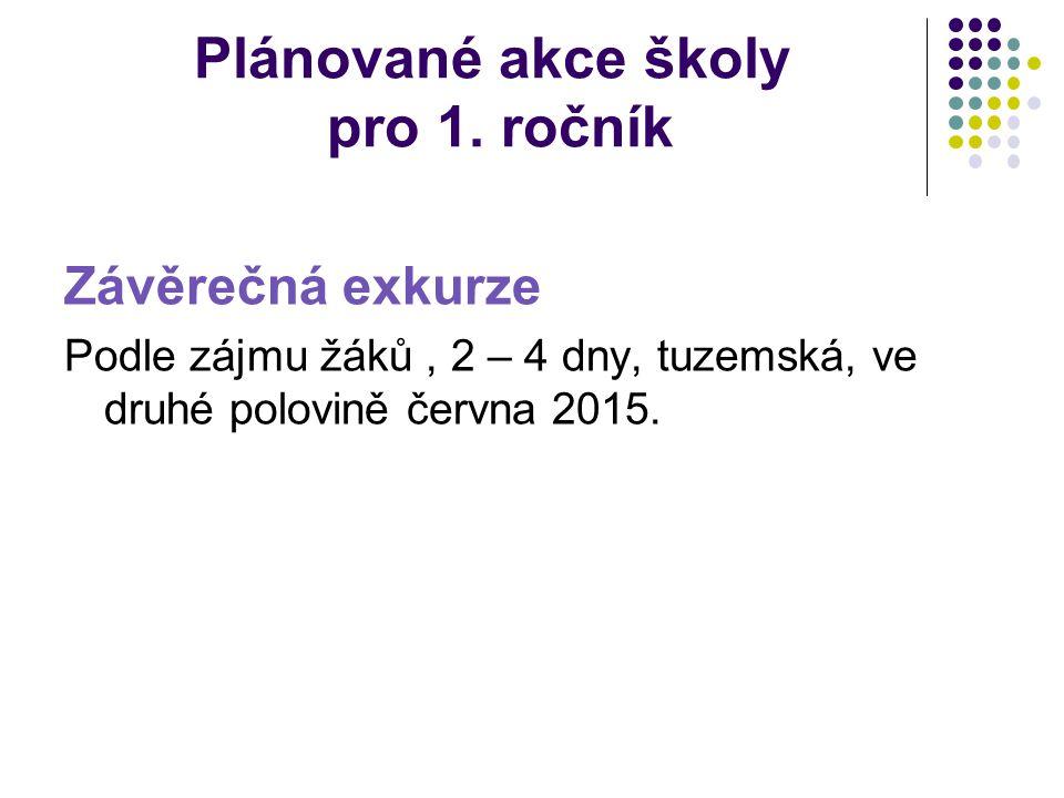 Plánované akce školy pro 1. ročník Závěrečná exkurze Podle zájmu žáků, 2 – 4 dny, tuzemská, ve druhé polovině června 2015.