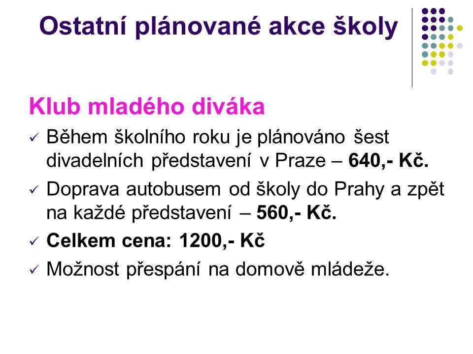Ostatní plánované akce školy Klub mladého diváka Během školního roku je plánováno šest divadelních představení v Praze – 640,- Kč. Doprava autobusem o