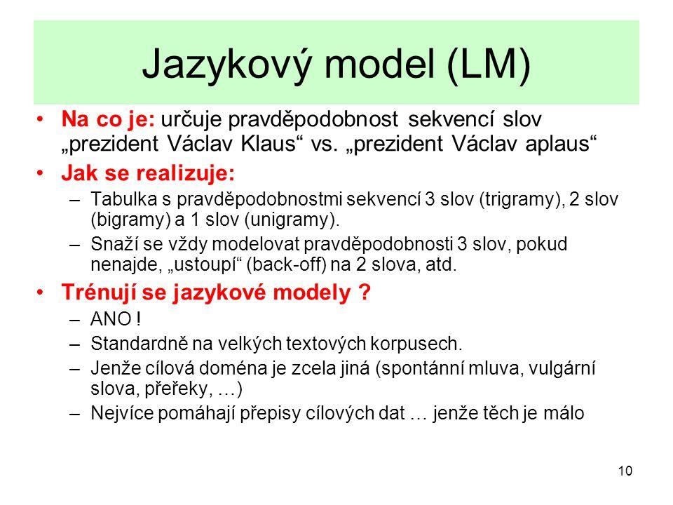 """10 Jazykový model (LM) Na co je: určuje pravděpodobnost sekvencí slov """"prezident Václav Klaus vs."""