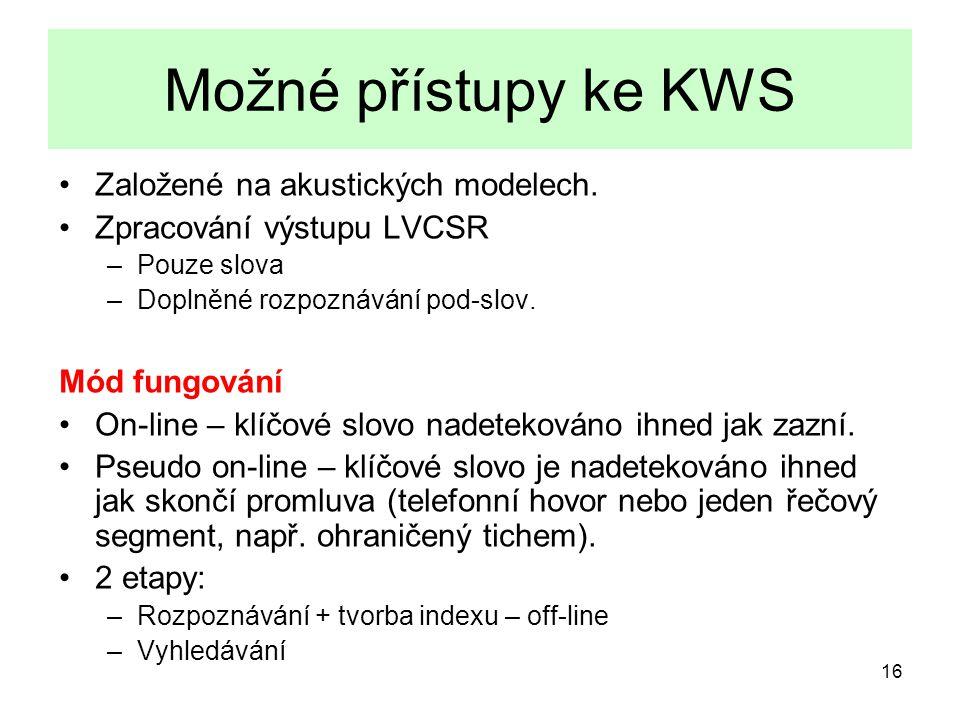 16 Možné přístupy ke KWS Založené na akustických modelech.