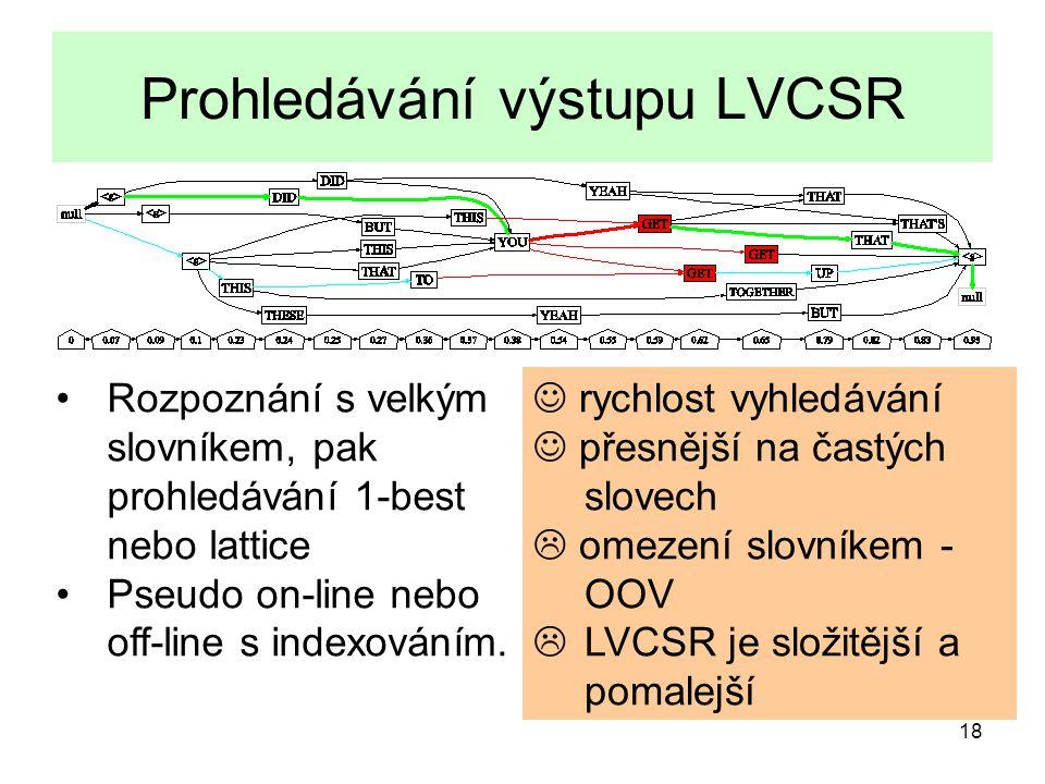 18 Prohledávání výstupu LVCSR rychlost vyhledávání přesnější na častých slovech  omezení slovníkem - OOV  LVCSR je složitější a pomalejší Rozpoznání s velkým slovníkem, pak prohledávání 1-best nebo lattice Pseudo on-line nebo off-line s indexováním.