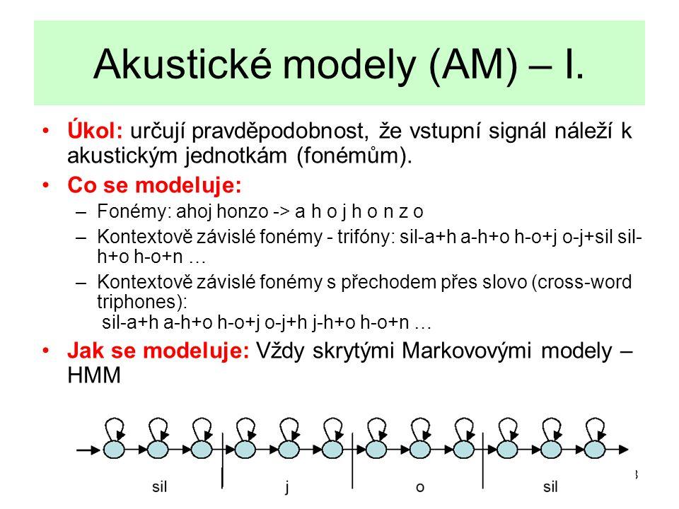 8 Akustické modely (AM) – I.