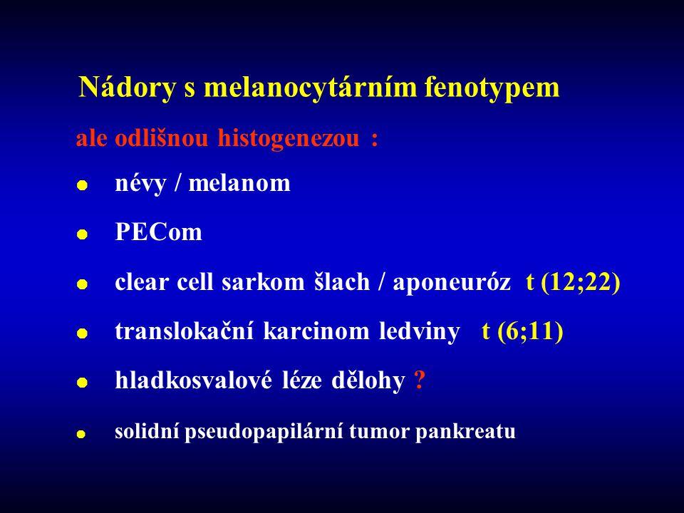 Nádory s melanocytárním fenotypem ale odlišnou histogenezou :  névy / melanom  PECom  clear cell sarkom šlach / aponeuróz t (12;22)  translokační karcinom ledviny t (6;11)  hladkosvalové léze dělohy .