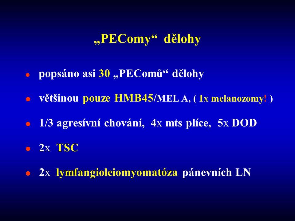 """""""PEComy dělohy  popsáno asi 30 """"PEComů dělohy  většinou pouze HMB45/ MEL A, ( 1x melanozomy."""