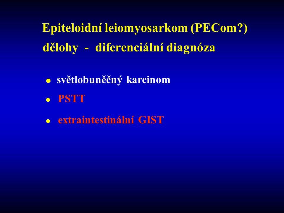 Epiteloidní leiomyosarkom (PECom?) dělohy - diferenciální diagnóza  světlobuněčný karcinom  PSTT  extraintestinální GIST