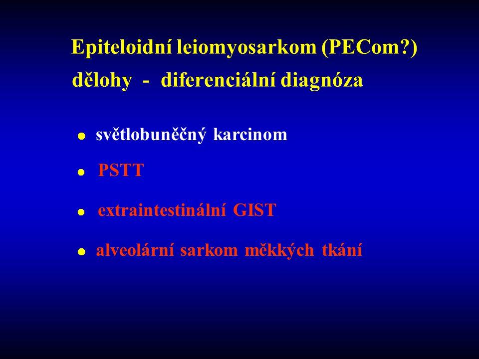 Epiteloidní leiomyosarkom (PECom?) dělohy - diferenciální diagnóza  světlobuněčný karcinom  PSTT  extraintestinální GIST  alveolární sarkom měkkých tkání